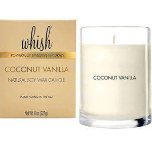 WHISH Natural Soy Wax Candle, Coconut Vanilla 8oz